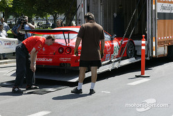 Prodrive Ferrari 550 Maranello is unloaded