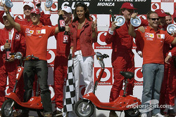 Vodafone scooter cup podium: Michael Schumacher and Rubens Barrichello