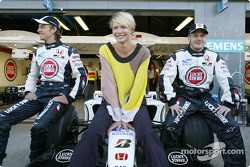 Supermodel Jodie Kidd with Jenson Button and Jacques Villeneuve
