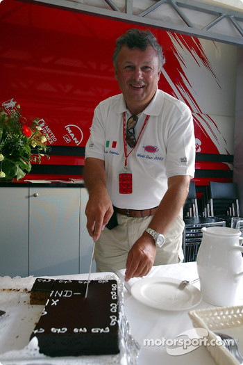 Veteran F1 photographer Ercole Colombo celebrates his 500th Grand Prix in the Toyota motorhome