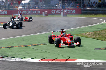 First lap: Rubens Barrichello cut the chicane