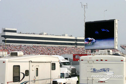 ...they are watching the race on the giant screen!