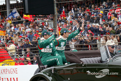 Drivers parade: Justin Wilson and Mark Webber