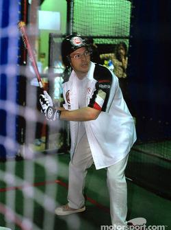 Jacques Villeneuve plays baseball