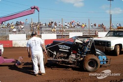 The tow truck yanks Brandon Lane out of the mud