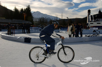 Marc Gene rides a bicycle on ice