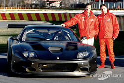 John Bosch and Danny Sullivan with  the  new  Barron  Connor Racing Ferrari 575 GTC at the Pista di Fiorano, Ferrari's own test track