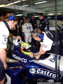 Ralf Schumacher gets ready to test the new WilliamsF1 BMW FW26