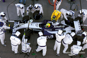 Pitstop practice for Williams team and Ralf Schumacher
