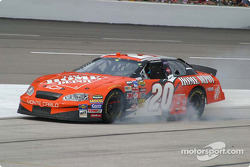 Tony Stewart locks up the brakes