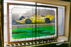 Stained glass in Hall's office