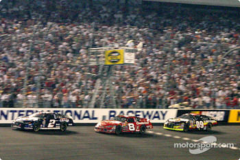 Dale Earnhardt Jr. takes the white flag