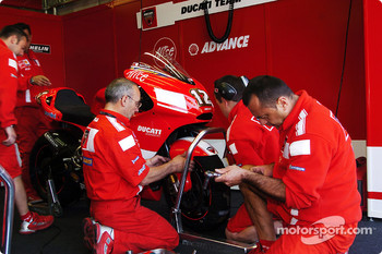 Ducati mechanics at work