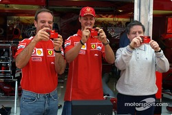 Olympus media event: Rubens Barrichello, Michael Schumacher and Jean Todt