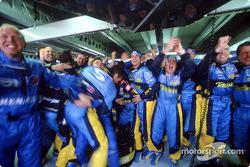Renault F1 team members celebrate victory