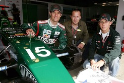 Mark Webber and Christian Klien pose with German actor Heino Ferch