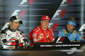 Saturday press conference: pole winner Michael Schumacher with Takuma Sato and Jarno Trulli