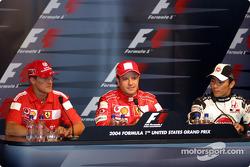 Saturday press conference: pole winner Rubens Barrichello with Michael Schumacher and Takuma Sato