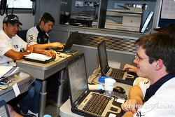 Williams-BMW motorhome: Marc Gene with Williams-BMW team members