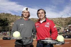Carlos Sainz plays tennis with ace David Nalbandian