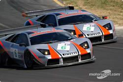 #6 Krohn-Barbour Racing Lamborghini Murcielago R-GT: Tracy Krohn, Dave McEntee, #5 Krohn-Barbour Racing Lamborghini Murcielago R-GT: David Brabham, Peter Kox