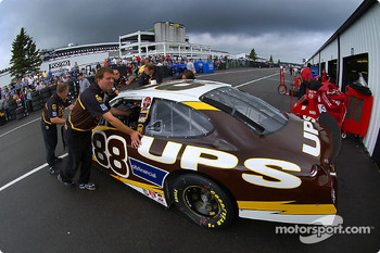 UPS Ford pushed back inside the garage