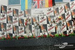 Podium: champagne for Gary Paffett, Mattias Ekström and Bernd Schneider