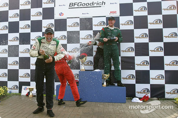 Podium: champagne for Paul Gentilozzi, Tomy Drissi, Tommy Kendall and Garrett Kletjian