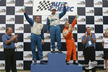 GTO podium: race winner Marc-Antoine Camirand with Normand Guindon and Rjean Vincent