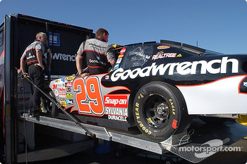 The GM Goodwrench Chevrolet rolls off the trailer