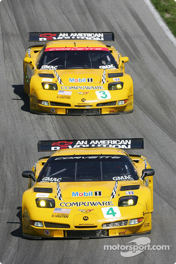 #4 Corvette Racing Corvette C5-R: Oliver Gavin, Olivier Beretta, #3 Corvette Racing Corvette C5-R: Ron Fellows, Johnny O'Connell