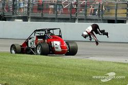 Race winner Tyler Walker celebrates