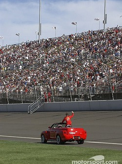 Dale Earnhardt Jr. waves to the crowd