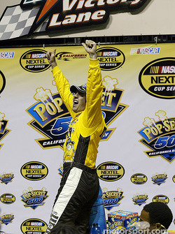 Elliott Sadler celebrates his victory