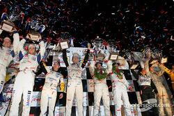 Class winners podium: GT winners Timo Bernhard, Jorg Bergmeister, Sasha Maassen, GTS winners Oliver Gavin, Olivier Beretta, Jan Magnussen, P2 winners Clint Field, Robin Liddell, Milka Duno, P1 winners Marco Werner, JJ Lehto
