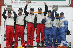 GT podium: class winners Bill Auberlen and Justin Marks, with Joey Hand and Boris Said, and Joao Barbosa, Emil Assentato and Stephen Earle