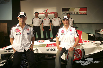 Honda Racing press conference: Jenson Button, Takuma Sato, Ken Hashimoto, Geoff Willis, David Richards and Takeo Kiuchi