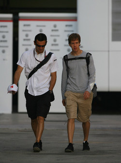 Pedro de la Rosa, BMW Sauber F1 Team with Sebastian Vettel, Red Bull Racing