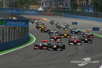 Start of the race, Lewis Hamilton, McLaren Mercedes and Sebastian Vettel, Red Bull Racing