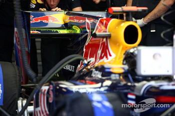 Sebastian Vettel, Red Bull Racing, aero paint being run on the rear of the car