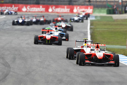 Daniel Juncadella leads Esteban Gutierrez and Stefano Coletti at the restart