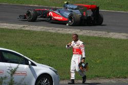 Lewis Hamilton, McLaren Mercedes stops on track