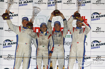 LMGT1 podium: class winners Gabriele Gardel, Patrice Goueslard and Fernando Rees with Jack Leconte