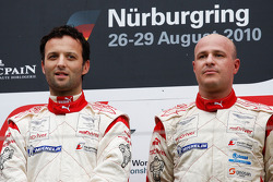 Podium: race winners Darren Turner and Tomas Enge