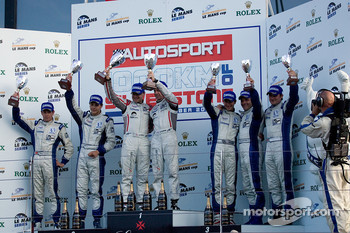 Formula La Mans podium from left: #47 Hope Polevision Racing Formula Le Mans - Oreca 09: Steve Zacchia, Olivier Lombard, #44 Dams Formula Le Mans - Oreca 09: Jody Firth, Warren Hughes and #48 Hope Polevision Racing Formula Le Mans - Oreca 09: Christophe P