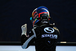 Robert Wickens celebrates victory in parc ferme
