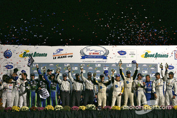 Class winners podium: LMP1 winners Pedro Lamy, Franck Montagny and Stéphane Sarrazin, LMP2 winners David Brabham, Simon Pagenaud and Marino Franchitti, LMPC winners Scott Tucker, Marco Werner and Burt Frisselle, LMGT2 winners Oliver Gavin, Jan Magnussen