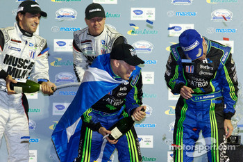LMP2 podium: champagne celebrations