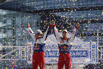 podium, Sbastien Loeb and Daniel Elena, Citron C4, Citron Total World Rally Team