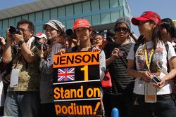 Japanese fans, Jenson Button, McLaren Mercedes
